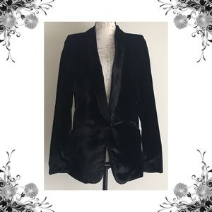 {Fairchild} Black Crushed Velvet Blazer Jacket